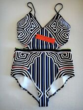 NWT CLOVER CANYON RESORT2015 CUT-OUT BIKINI NEOPRENE MULTI ONE-PIECE SWIMSUIT M