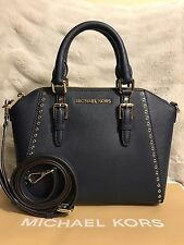 NWT MICHAEL KORS SAFFIANO LEATHER CIARA GROMMET MEDIUM MESSENGER BAG IN NAVY