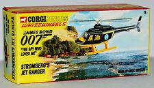 CUSTOM MADE DISPLAY BOX FOR CORGI JUNIORS STROMBERG'S JET RANGER HELICOPTER
