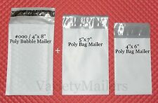34 POLY BAG + 17 POLY BUBBLE MAILING SMALL ENVELOPE COMBO  #000 4x8 + 5x7  4x6