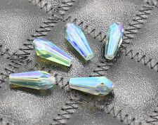 Nice 10pcs 6x14mm Rice Shape Glass Crystal Charms Spacer Loose Beads Green