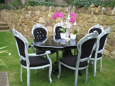 Louis Style Dining Table & 6 Chairs in Black, Cream or White Laura Ashley