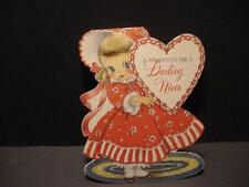Vintage NORCROSS Large Shaped Valentine: Cute Girl w/Applied Hair in Red Dress