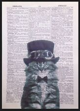Steampunk Cat Kitten Print Vintage Dictionary Page Wall Art Picture Animal Hat