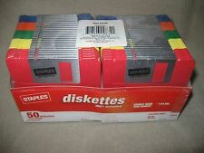 NEW SEALED 50 STAPLES RAINBOW 3.5 DISKETTES; FORMATTED; HI DENSITY; DOUBLE SIDED