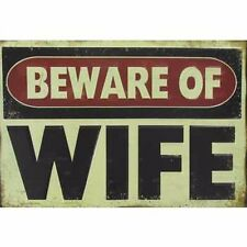 BEWARE OF WIFE METAL  VINTAGE STYLE SIGNS MAN CAVE DECOR SNAP ON TOOLS