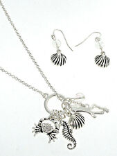 Coastal Boutique Silver SEA LIFE Charms Necklace & Dangle Earrings Set NWT New