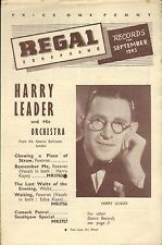 REGAL ZONOPHONE RECORD CATALOGUE SUPPLEMENT 1945 09 SEP harry leader/gene autry