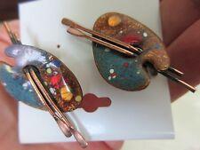 Vintage Renoir Matisse Copper Enamel Paint Pallette Clip Earrings