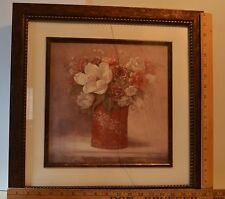 """Framed Flower Painting """"Tradition With A Twist II"""" signed by Viv Bowles 18 x 18"""