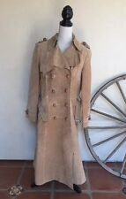 MISS MAGNIN Rare Vintage Tan Suede Leather Belted Toggle Trench Coat Israel 48