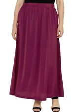 LONG MAXI BURGUNDY SKIRT WITH ELASTIC WAIST SATIN LIKE MATERIAL  Size 18