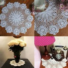 14.5'' Vintage Cotton Placemat Hand Crocheted Lace Doilies Flower Table Coasters