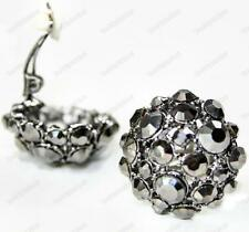CLIP ON glass crystal BIG BLACK EARRINGS hematite rhinestone clips marcasite sty