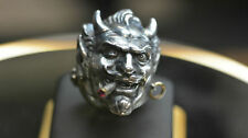 Jolly Rebels Sterling Silver Devil Lucifer LARGE HEAVY Ring with Cigar & Earring