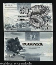 FAEROE ISLANDS 50 KRONUR P24 2001 RAMS HORN UNC EUROPE ANIMAL CURRENCY BANK NOTE