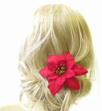 Large Red Poinsettia Flower Hair Pin Christmas Fascinator Headpiece Festive 1199