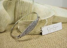 Jessica Simpson Curb Appeal Crystal Silver Tone Cuff  Bracelet MSRP $24