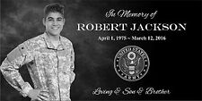 """Personalized Stone Memorial Engraved Headstone 6""""x12"""" Human marker Army Theme"""