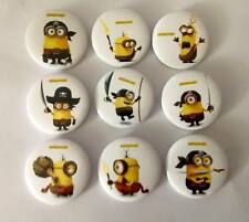 NEW Lot of 9 Minions Pirate Badges - 3cms diameter - for party loot bags favours