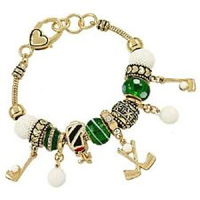 Golf Bracelet Sliding Bead Charm Clubs Caddy Bag Ball GOLD Team Sport Jewelry