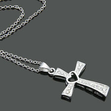 Solid Sterling Silver CZ Heart Cross Pendant O Chain Charm Necklace 18""