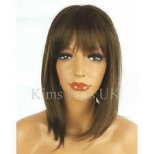 FULL WOMENS LADIES WIG WARM MEDIUM BROWN SHOULDER LENGTH LAYERED BOB UK