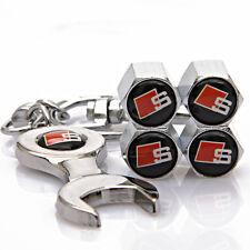 4pcs Zinc Alloy Auto Reifen Ventilkappen + Wrench schlüsselanhänger für S-LINE