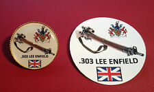 .303 LEE ENFIELD SNIPER RIFLE GOLD PLATED BADGE  &  LEE ENFIELD  STICKER