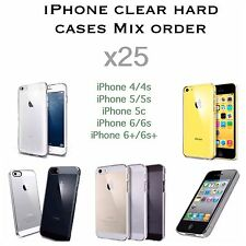 iPhone 4 4s 5 5s 5c 6 6s 6+ 6s+ Mix clear thin hard case Wholesale Bulk Buy x25