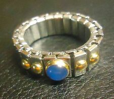Nomination Italy Stretch Band Ring Gold Accents Blue Cabochon Center Stone