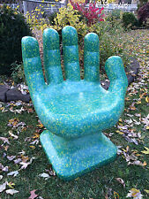 "Granite Teal, Green & Yellow HAND SHAPED CHAIR 32"" adult 70s Retro iCarly NEW"