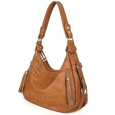 UTO Women Handbag PU Leather Purse Hobo Style Shoulder Bag Brown Tan