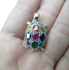 Sterling Silver multi color gemstones marcasite TURTLE Pendant Thai NEW MOVE 1""