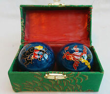 Enamel Chinese Baoding Balls - Dragon & Phoenix - Blue - Boxed - New - 50mm