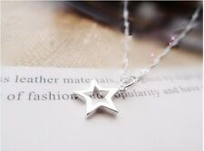 925 Sterling Silver Plated Hollow Cut Out Star Pendant Necklace Ladies Girls