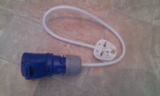 Caravan Motorhome Mains Hook Up Converter Adaptor 13A Plug to 16 Amp Blue Socket