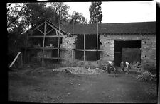 Restauration grange hangar agricole - négatif photo ancien an. 1940 negative