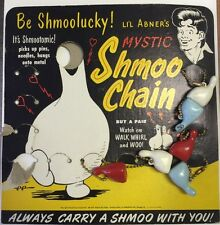 Late 40's  Mystic Shmoo Magnet toys On Chains  on Board (6) From Li'l Abner
