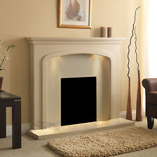 ELECTRIC CREAM STONE MODERN WALL FREE STAND FIRE SURROUND FIREPLACE SUITE LIGHTS