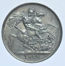 1889 CROWN BRITISH SILVER COIN FROM VICTORIA aEF