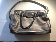 Michael Kors Hamilton Large Metalic Silver Leather Satchel Purse Tote