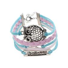 """Bar """"Believe"""" Infinity Big Owl Pink Leather Braided Charm Friendship Bracelet"""