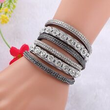 NEW LOVELY LEATHER Slake BRACELET MADE WITH SWAROVSKI CRYSTALS - GREY
