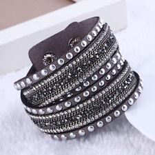 NUOVI Eleganti in Pelle con Braccialetto realizzati con cristalli swarovski-grigio