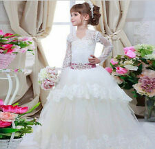 2016 Newest Long Sleeve Lace Flower Girl Dresses for Weddings Beading Appliques