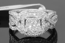 10K WHITE GOLD 1.45 CARAT WOMENS REAL DIAMOND ENGAGEMENT RING WEDDING BANDS SET