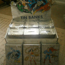 12 DC Comics COLLECTIBLE Tin Cans Coin Piggy Bank,Wonderwoman, Superman, Batman