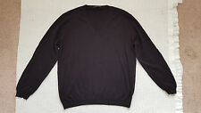 Prada Black 100% Cotton V Neck Sweater Size 52 Made in Italy US Size 42 L