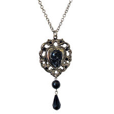 "NEW Tarina Tarantino Black ""EVESONG"" Skull Heart Necklace -SALE"
